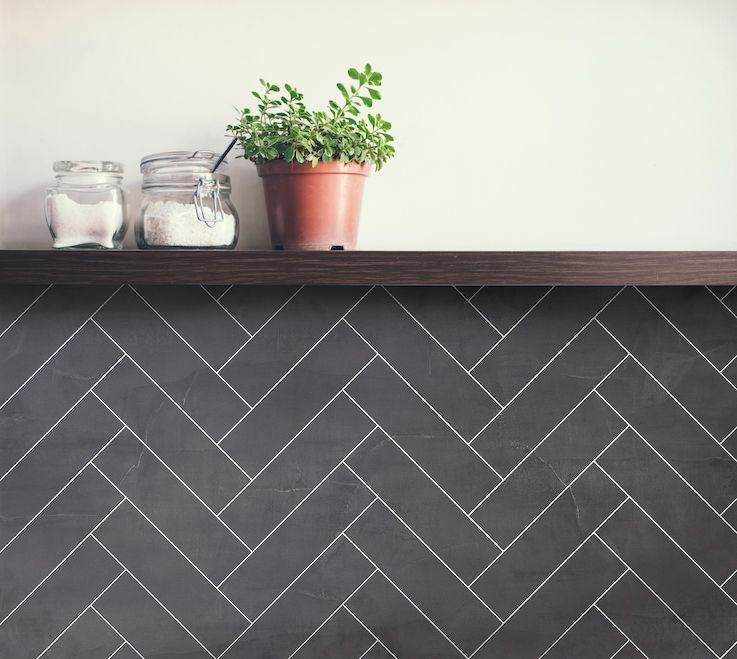 Kitchen Wall - Black Velvet Herringbone