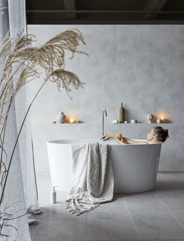 Concrete Nature Brushed 60 x 240 Bathroom Wall panel