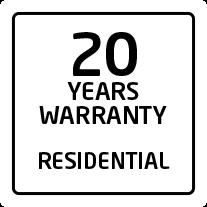 20 years residential warranty